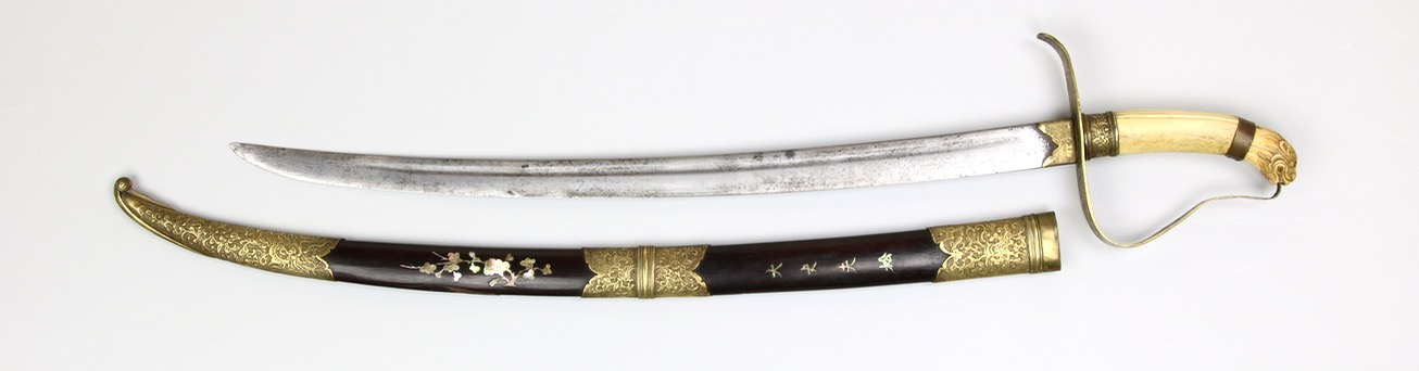 An antique Vietnamese officer saber with good heavy fighting blade