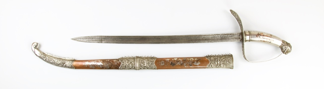 A very rare antique Vietnamese ceremonial saber with all metal hilt and scabbard. Peter Dekker www.mandarinmansion.com