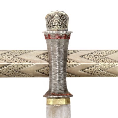 A very good Bhutanese sword with 'churi chemn' (wavy pattern) scabbard.