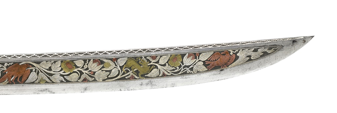 A very nice Burmese dha with spectacular overlaid blade in silver, copper and brass.