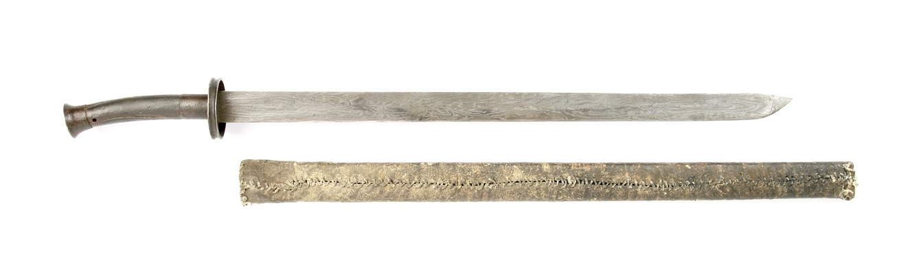 A Chinese zhibeidao type sword with very unusual and wild pattern welding