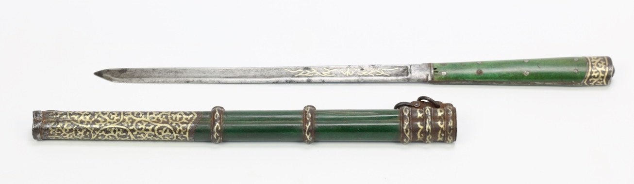 A large Chinese trousse knife with inlaid iron mounts