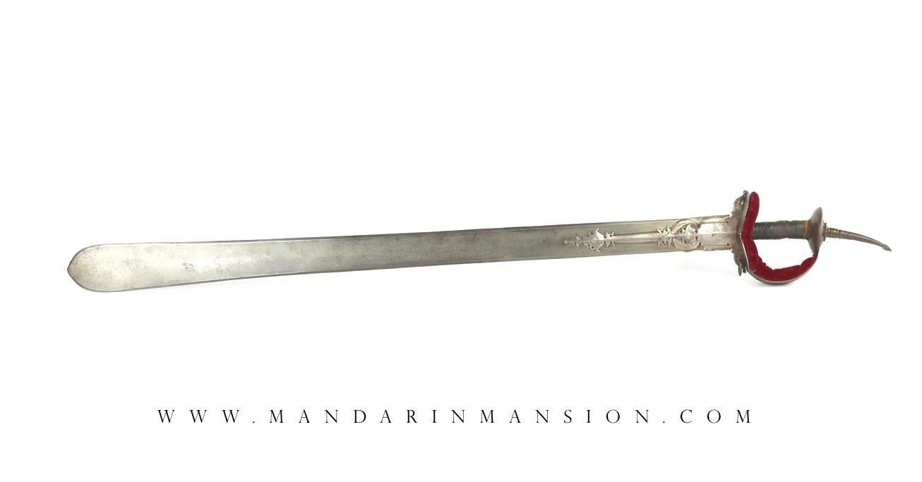 A heavy all-steel Indian khanda sword with wootz blade