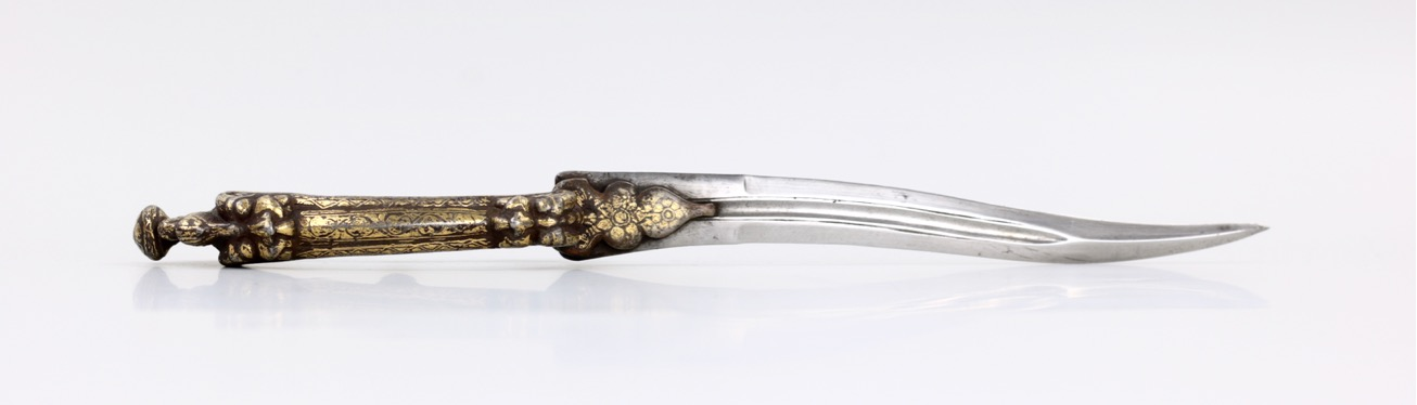 A south Indian bichwa dagger with chiseled iron handle