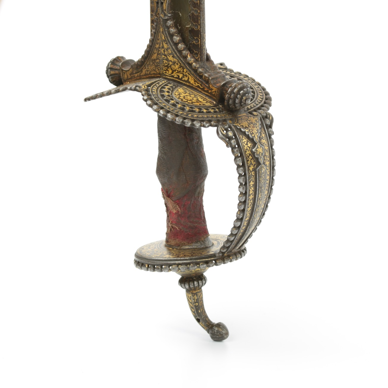 Indian Khanda sword with exceptionally fine hilt with pierced work, beaded rims and golden decoration