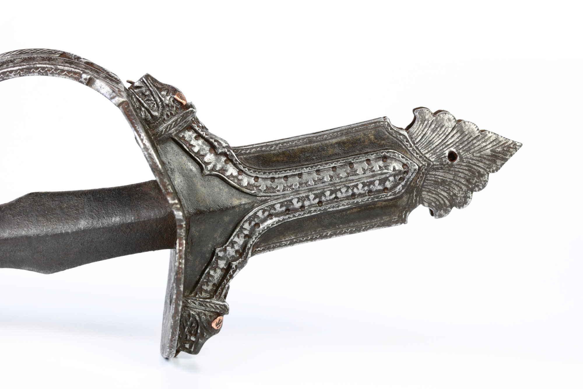 Indian Khanda hilt in chiseled iron