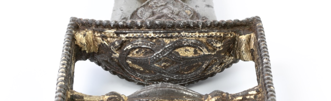 Double-noose knot on an antique katar of a style associated with the Tanjore armory.
