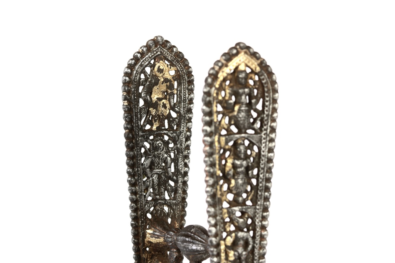 A south Indian katar, Tanjore style, with ten avatars of Vishnu chiseled out of the handle.
