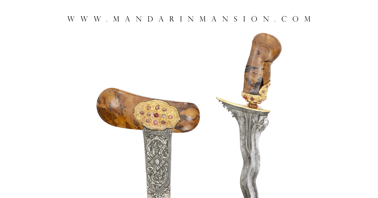 A Balinese keris with golden and gemstone decoration