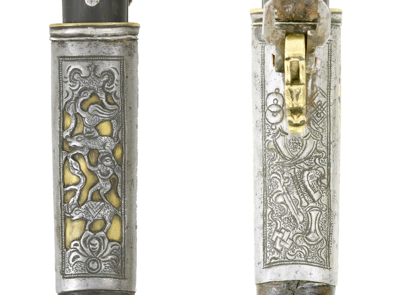 Symbols on an antique Mongolian knife scabbard