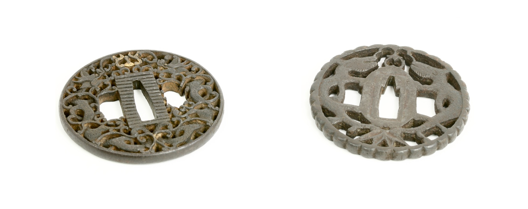 Three Japanese tsuba's with Chinese influence.