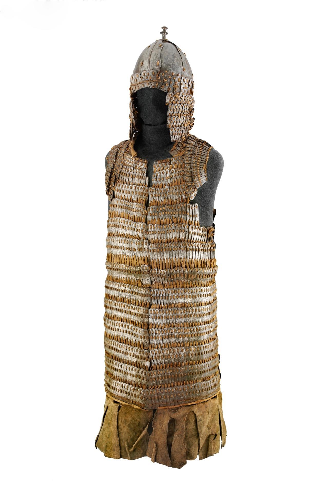 Tibetan lamellar armor with helmet. Metropolitan Museum accession number 36.25.53a, b