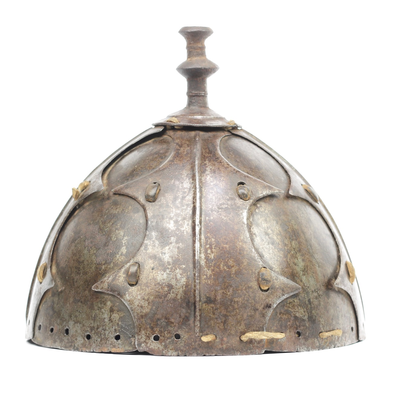 An antique Tibetan eight-plate helmet with partial lamellar armor