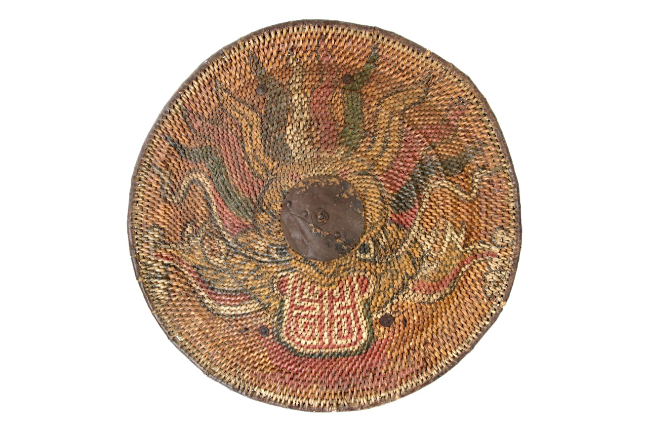 An antique Vietnamese rattan shield